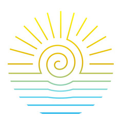 sun and sea line style round logo on white vector image