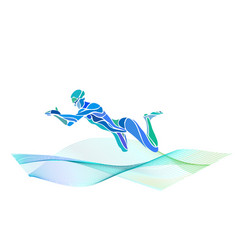 swimmer breaststroke color silhouette vector image