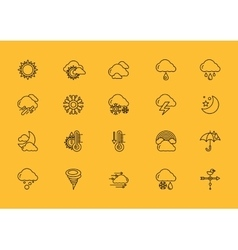 Symbols weather Set of Black Outline Icons vector image