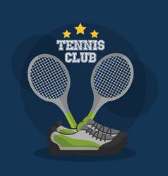 tennis club racket crossed and sneakers equipment vector image