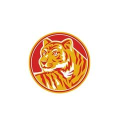 Tiger Prowling Head Circle Retro vector