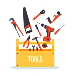 Tools box with instruments vector