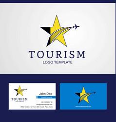 Travel belgium flag creative star logo and vector