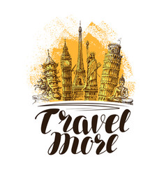 travel journey banner famous world landmarks vector image