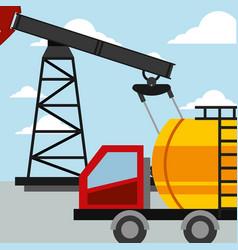 truck tanker transport pump oil industry vector image