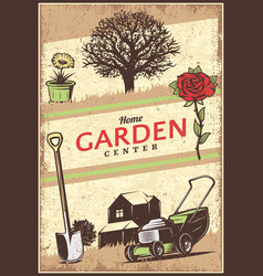 vintage colored gardening poster vector image