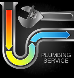 Water pipe cleaning and wrench vector