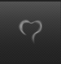 White smoke or steam in shape heart vector