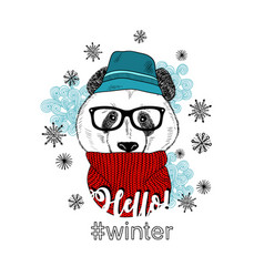 Winter panda in hat isolated on the white vector