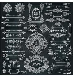 WinterChristmas swirls decorBorderFrameribbons vector