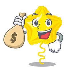 With money bag star balloon was flown mascot sky vector