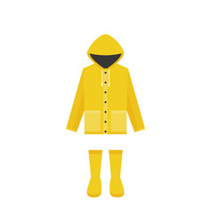 Yellow raincoat and rubber boots vector