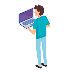 Young man with laptop computer vector