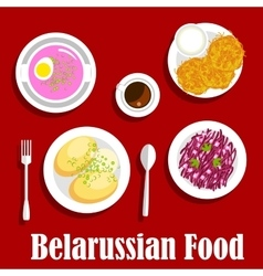 Belarusian vegetarian national dishes flat icon vector image vector image