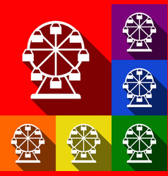 ferris wheel sign set of icons with flat vector image