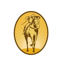 Horse and jockey racing front view vector