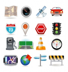 navigation icon set vector image vector image