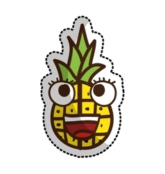 Pineapple fruit character comic icon vector