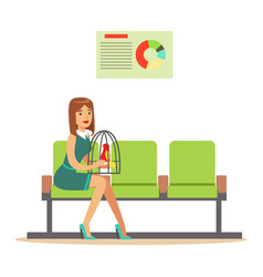 woman sitting in waiting hall with her parrot in a vector image vector image