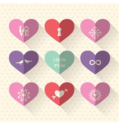 Heart symbol flat design icon set vector image vector image