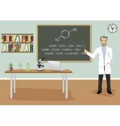 male teacher giving lecture in chemistry class vector image vector image
