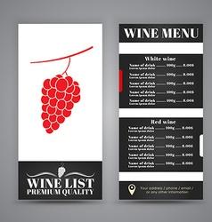 Menu Design for wine cafes restaurants vector image