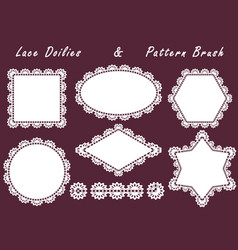 set of lace napkins different shapes and patterned vector image