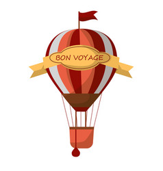 striped air balloon with sign bon voyage isolated vector image