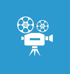 video icon white on the blue background vector image