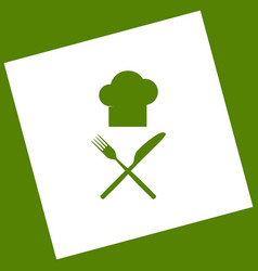 Chef with knife and fork sign white icon vector