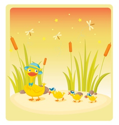 duck and ducklings vector image vector image