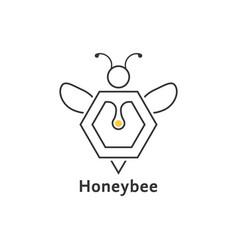 honeybee like thin line logo vector image