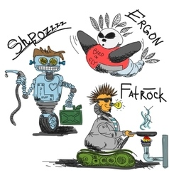 Vintage antique robots vector image