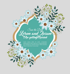 wedding invitation floral frame vector image vector image