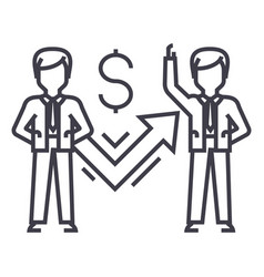 businessmen and success graph line icon vector image