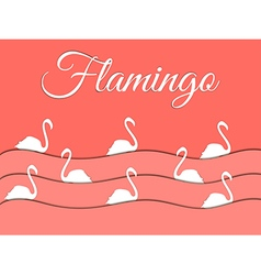 Flamingo and paper waves vector image