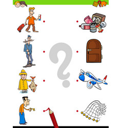 match men and objects game for kids vector image