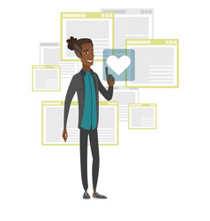 Young african man pressing web button with heart vector