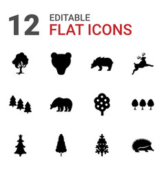 12 forest icons vector
