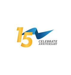 15 years anniversary celebration elegant ribbon vector