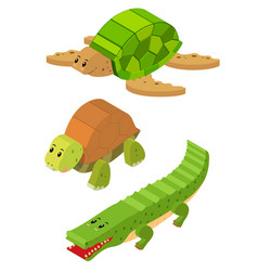 3d design for turtle and crocodile vector image