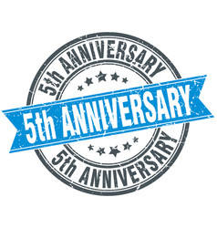 5th anniversary round grunge ribbon stamp vector