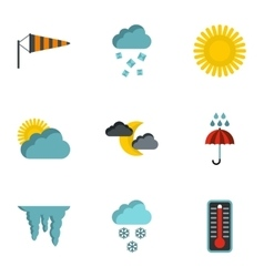 Air temperature icons set flat style vector image