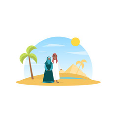 arabian couple wearing national traditional vector image