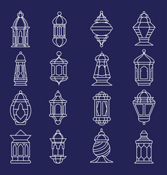 arabic lantern line art set vector image