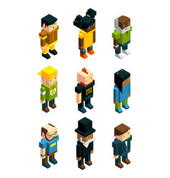 Avatars for 3d games isometric low poly people vector