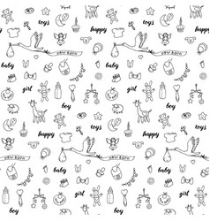 Baby doodle and lettering seamless pattern vector