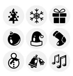 black Christmas icons Icon set vector image
