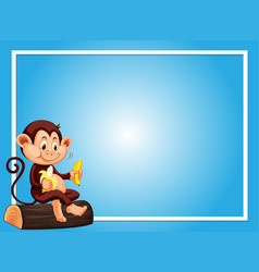 Blue background template with monkey eating banana vector