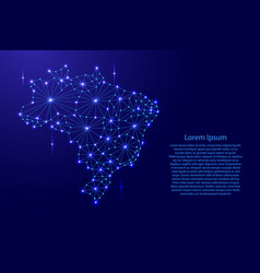 Brazil map of polygonal mosaic lines rays vector